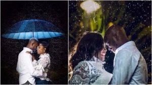 A pre wedding shoot of a couple in the rain.