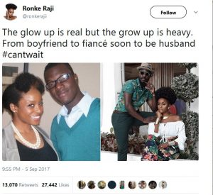 A throwback and recent picture of a lovely couple